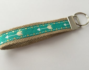 Keychain / Teal and Tan Wristlet Gold and White Arrows / CHARITY