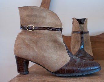 """Brown Suede Vintage 70's Ankle High Heel 6"""" Dress Boots w/ Croc Look Brown Leather Trim Rubber Sole Lined by White Cross Size 10 - M-825"""