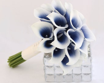 Navy Wedding Flowers Bridesmaid Bouquet Blue Calla Lily Midnight