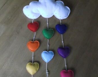 Handmade felt cloud with rainbow hearts mobile