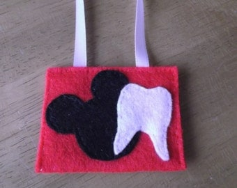 Felt tooth fairy pouch Mickey inspired