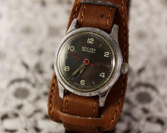 MOSKVA 1950s vintage Russian Soviet mechanical men's watch leather strap poljot Moscow D