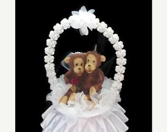 ON SALE Monkey wedding cake topper