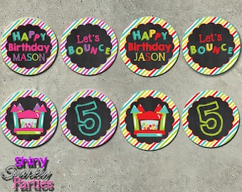 """Printable """"BOUNCE HOUSE CUPCAKE Toppers"""" - Bounce House Party Circles - Bounce House Cupcake Signs - Bounce House Birthday Party Cupcakes"""
