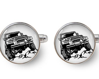 jeep cufflinks 4X4 jeep cufflinks groomsmen cuff links car gift -with gift box