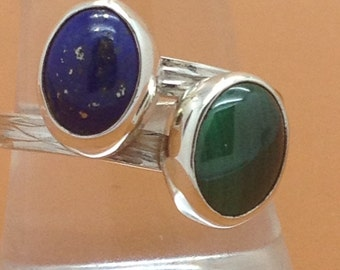 Sterling Silver with Lapis Lazuli and Malachite Wrapover Ring, Hallmarked.