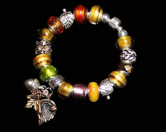 Genuine Pandora Bracelet ~ BACK TO NATURE ~ with Natural Color European Style Beads and Leaf Charms