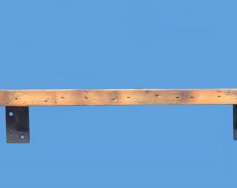 """barn wood shelf with salvaged steel  brackets, 72"""" long ,by 5-1/2"""" deep, by 2"""" thick--mantel 106"""