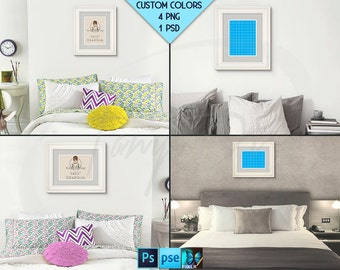 9x12 #R01 White Portrait & Landscape Frames on Bedroom Wall, Double mat, 4 Rendered PNG scenes, Opening 23x30cm, Custom colors