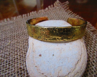 Hammered Bronze Cuff Bracelet.  15mm X 3mm Thick and Wide.