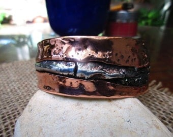 Streaming Silver Copper Cuff Bracelet.  aluminum melt and hammered.  Sturdy Copper.