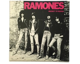 "Ramones, ""Rocket to Russia"", vinyl record album, punk LP, 1970s, teenage lobotomy, rockaway beach, sheena is a punk rocker"