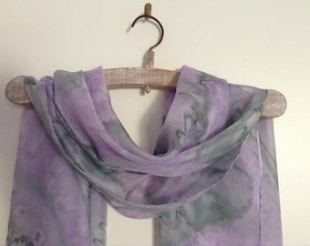 Handmade Silk Scarf, Handpainted Silk Foulard, Foulard, Unique Scarf- Silk Scarf, Silk Shawl, Pink Grey Silk Scarf- 45x150 cm, v
