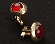 """1950's ANSON Oval Gold Tone Red Lucite Cabochon Art Deco Cuff Links, Good Used Cond., 7/8""""L, 1/.2""""H, Slant Toggle Fasteners, ANSON Stamp."""