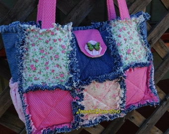 Denim rag purse, shabby chic purse, pink purse, handmade purse, quilted purse