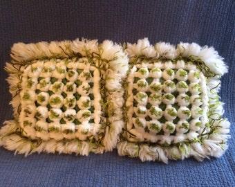 2 Vintage Wooly Yarn Pom Pom Pillows