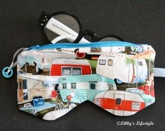 Vintage caravans Glasses case. Handmade.