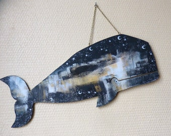 Mobile wooden / / starry whale / / wall decoration