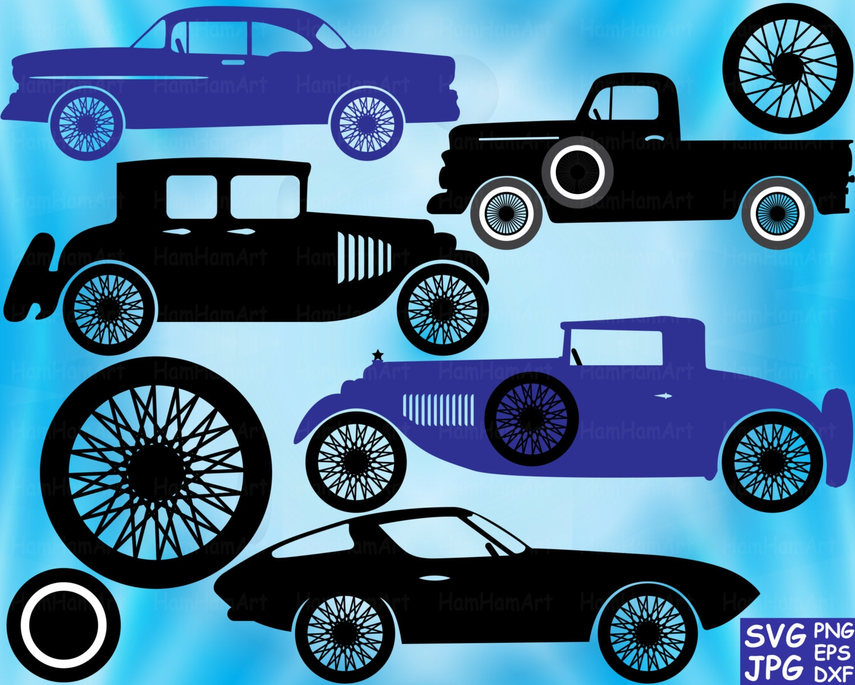 Car body sticker design eps - Vintage Sport Cars Monogram Cutting Files Digital Files Svg Eps Png Dxf Jpg Vinyl Clip Art Antique Car Clipart Retro Truck Clipart Old 59s