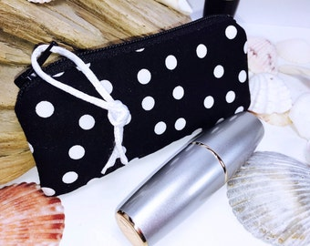 Polka Dot Lipstick Case, Lip Balm Holder, Single Essential Oil Bag, Lipstick Pouch, Earphones Case, Change Purse