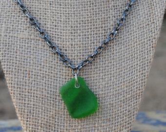 Emerald Sea Glass Pendant Necklace