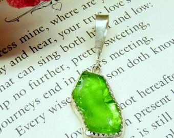 Bright Lime Green Sea Glass Pendant