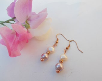 Shell pearl and pearl earrings , pearl jewelry , rose gold plated earrings , gemstone jewelry , birthstone jewelry , june birthstone gift
