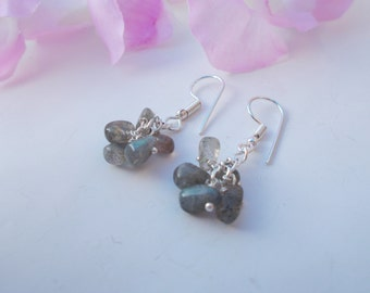 Labradorite earrings , silver plated earrings , labradorite jewelry , dangle earrings , silver plated jewelry , cluster earrings