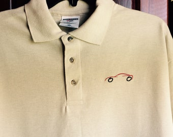 Men's Embroidered Short Sleeve Polo with Corvette Embroidery