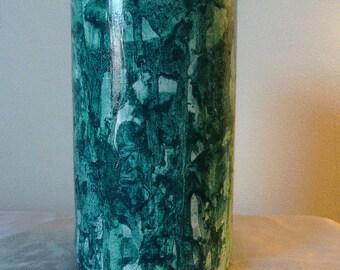 Glass vase vinegar painted in green