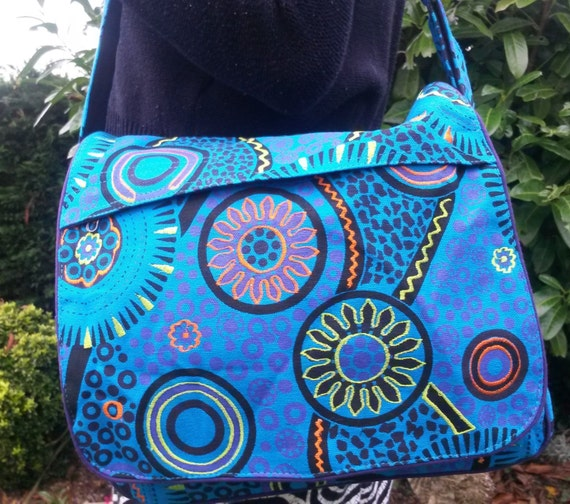 Bright Colourful Handbag, Flower Spiral Design, Hippy Boho Festival, Blue Pink Purple