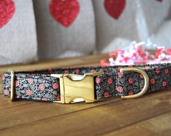 Valentine's Day Dog Collar, Black Gold and Red, Floral, Poppy, Male, Female Pet Collar, Gold Metal Buckle