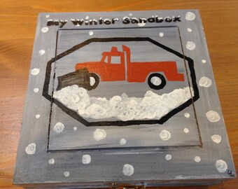 Mini Winter Sandbox- hand-painted box with kinetic sand and construction toy