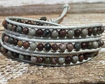 Jasper Bracelet / Chan Luu Style Wrap Bracelet / Healing Crystal Bracelet / Jasper Bracelet / Beaded Wrap Bracelet