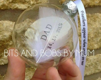 Personalised glass angel feather memory bauble decoration in remembrace