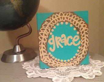 Grace wood block painting
