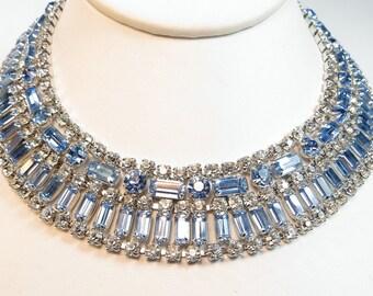 VINTAGE 1950's Blue Baguette RHINESTONE Collar NECKLACE Fit for a Princess!