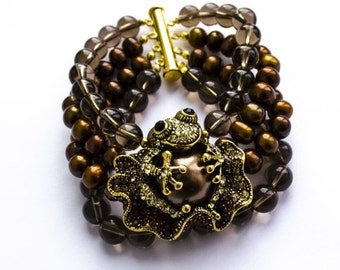 """Bracelet with brown pearls and smoky quartz """"WATER-LILY"""""""