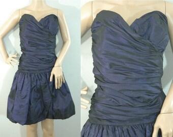 75% OFF February 5 - 7 70s Dark Purple Taffeta Party Dress • Size XS - Small • Vintage 1970s Ruched Flare Mini Dress [D]