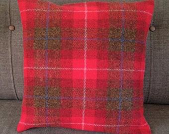 "18"" Red Checked Harris Tweed Cushion"