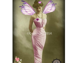 Fairy Lady Printable Victorian  Woman Digital Collage Ephemera Alter Art Instant Download Vintage  Image Scrapbooking Cards Digital Photo