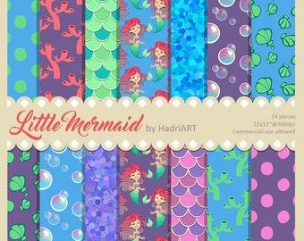 Mermaid Digital Paper, Mermaid Pattern