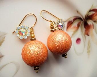 Earrings vintage lucite sugarbeads 50s Italy,orange stardust pearls vintage, Swarovski pendants, goldplated earhooks