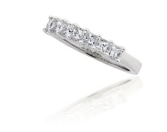 Princess Cut Diamond Seven Stone Ring in 14kt White Gold, Seven Diamond Ring, Princess Cut Band, Wedding Ring, Wedding Band, Square Diamonds