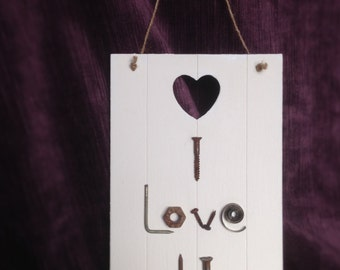 Upcycled / Salvaged I Love You Sign