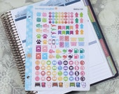 Rainbow Icons Stickers! 1 punched sheet, for your Erin Condren Life Planner, Plum Planner,  Filoflax, calendar