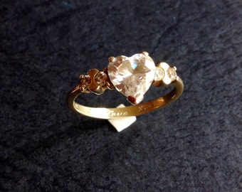 Cubic Zirconia Ring 925 Silver Ring Gold On Silver Rolled Gold Ring I Love You Ring Heart Stone Ring Love Heart Ring