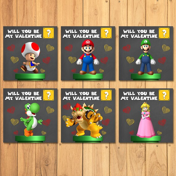 Super Mario Brothers Valentines Day Cards Chalkboard – Mario Bros Valentine Cards