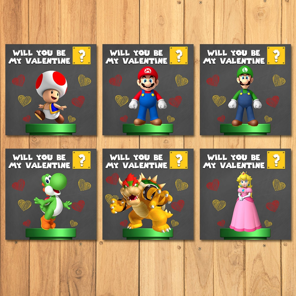 Super Mario Brothers Valentines Day Cards Chalkboard – Mario Valentines Cards