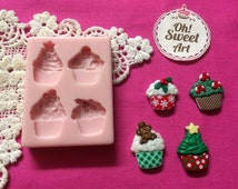 Christmas Cupcakes toppings Silicone Mold Food cake Decoration Cupcake (FDA)